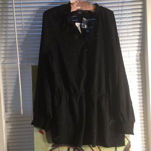 Michel Studio Mao Collar Peplum Blouse (Black)